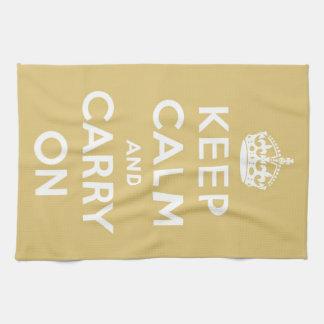 Guarde la calma y continúe el amarillo toallas de mano