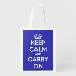 Guarde la calma y continúe el azul y el blanco bolsa de la compra