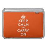 Guarde la calma y continúe el bermellón funda  MacBook