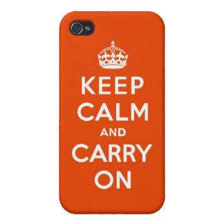 Guarde la calma y continúe el bermellón iPhone 4/4S carcasas