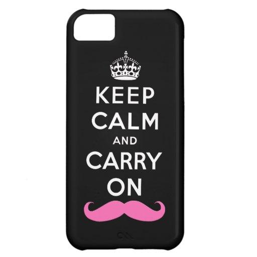 Guarde la calma y continúe el bigote rosado carcasa iPhone 5C