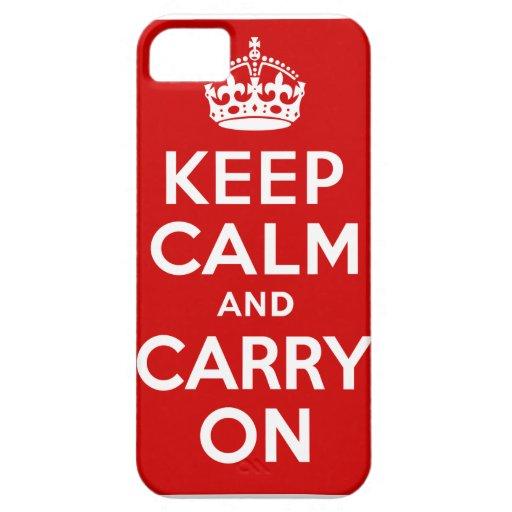 Guarde la calma y continúe el caso funda para iPhone 5 barely there