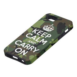 Guarde la calma y continúe el caso militar del iPh iPhone 5 Case-Mate Protectores