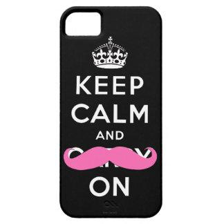 Guarde la calma y continúe el caso rosado del iPho iPhone 5 Case-Mate Carcasas