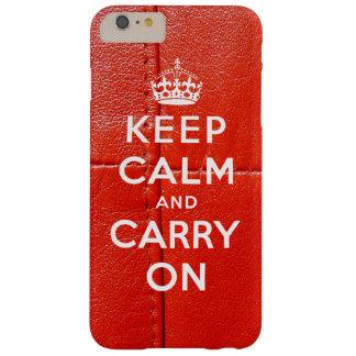 Guarde la calma y continúe el cuero rojo impreso funda de iPhone 6 plus barely there
