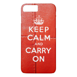 Guarde la calma y continúe el cuero rojo impreso funda iPhone 7 plus