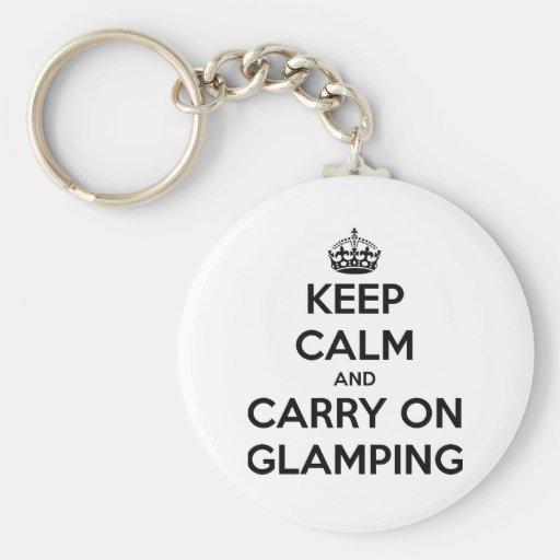 Guarde la calma y continúe el glampling llavero redondo tipo pin