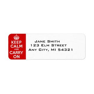 Guarde la calma y continúe el mejor precio etiquetas de remite