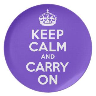 Guarde la calma y continúe el mejor precio púrpura platos para fiestas
