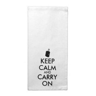 Guarde la calma y continúe el personalizado del servilleta de papel