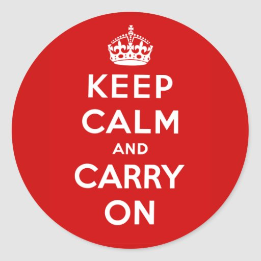 Guarde la calma y continúe el poster británico en  etiqueta redonda