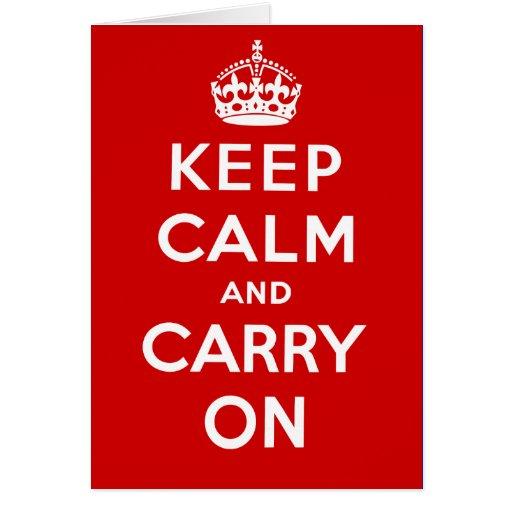 Guarde la calma y continúe el poster británico en  felicitaciones