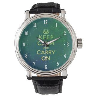 Guarde la calma y continúe el reloj retro del |
