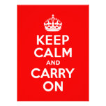 Guarde la calma y continúe el rojo comunicados personales