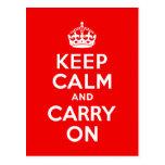 Guarde la calma y continúe el rojo postal