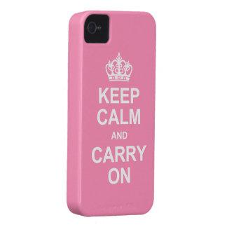 Guarde la calma y continúe - el rosa de Bubblegum iPhone 4 Cárcasa