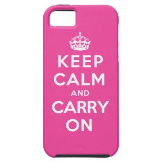 Guarde la calma y continúe - el rosa funda para iPhone 5 tough