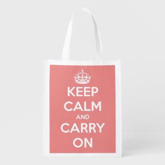 Guarde la calma y continúe el rosa y el blanco bolsas reutilizables