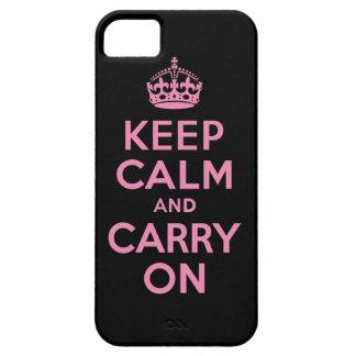 Guarde la calma y continúe el rosa y el negro iPhone 5 fundas