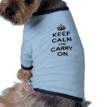 Guarde la calma y continúe el texto negro camisas de mascota