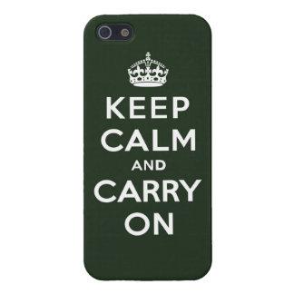 Guarde la calma y continúe el verde verde oliva iPhone 5 fundas