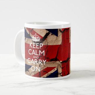 Guarde la calma y continúe el vintage sucio Reino  Tazas Extra Grande