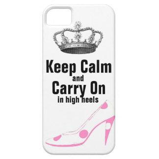 Guarde la calma y continúe en zapatos del tacón al iPhone 5 Case-Mate coberturas