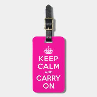 Guarde la calma y continúe etiqueta para equipaje
