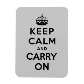 guarde la calma y continúe - gris y negro iman rectangular