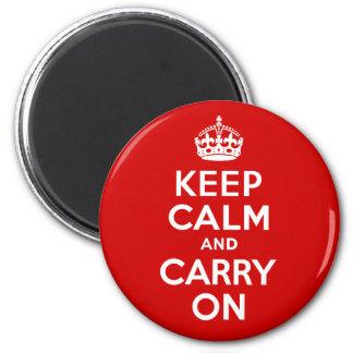 Guarde la calma y continúe imán redondo 5 cm