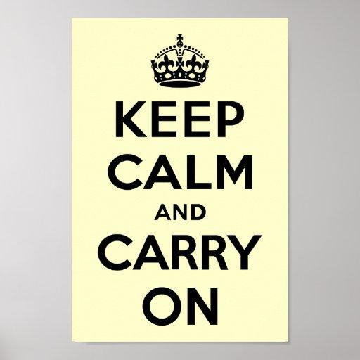 Guarde la calma y continúe impresiones
