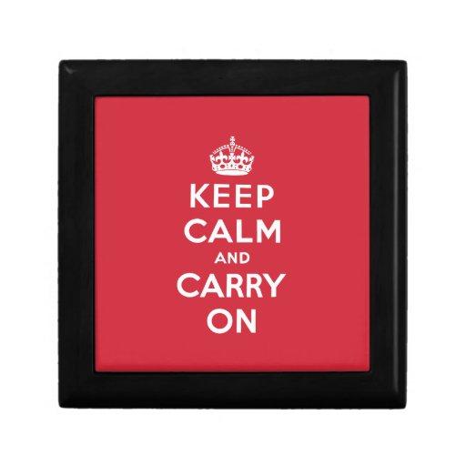 Guarde la calma y continúe joyero cuadrado pequeño