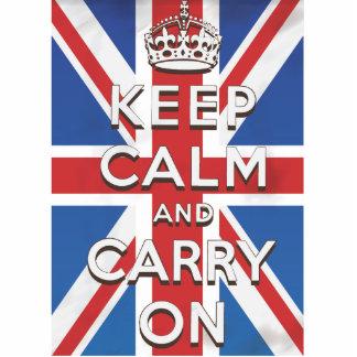 Guarde la calma y continúe la bandera británica fotoescultura vertical