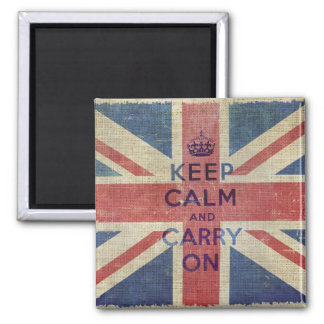 Guarde la calma y continúe la bandera BRITÁNICA Imán Cuadrado