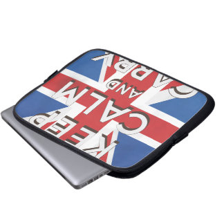 Guarde la calma y continúe la bandera británica mangas computadora