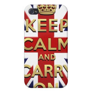 Guarde la calma y continúe la bandera británica Un iPhone 4 Cárcasa