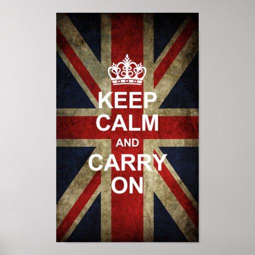 Guarde la calma y continúe - la bandera de Británi Poster