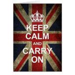Guarde la calma y continúe - la bandera de Británi Tarjeton
