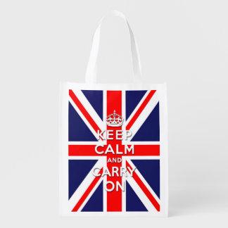 Guarde la calma y continúe - la bandera de Union J Bolsas Para La Compra