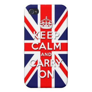 Guarde la calma y continúe - la bandera de Union J iPhone 4/4S Funda