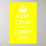 Guarde la calma y continúe la impresión amarilla impresiones