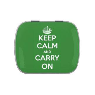 Guarde la calma y continúe la lata recargable verd jarrones de caramelos