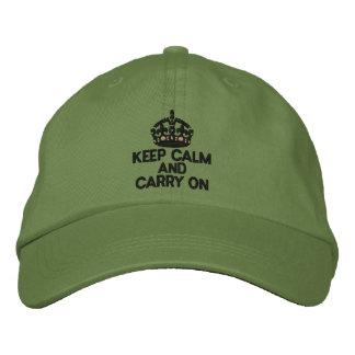 Guarde la calma y continúe la moda gorra de beisbol