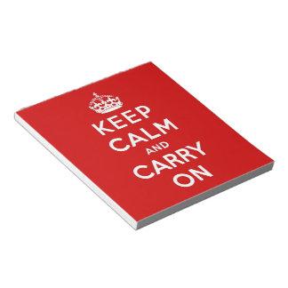 guarde la calma y continúe la original libreta para notas