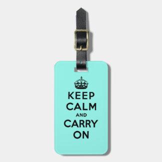 guarde la calma y continúe la original etiquetas para maletas