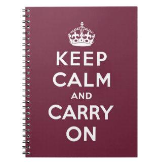 guarde la calma y continúe la original note book