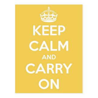Guarde la calma y continúe la postal amarilla