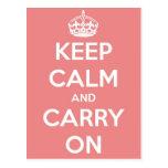 Guarde la calma y continúe la postal rosada