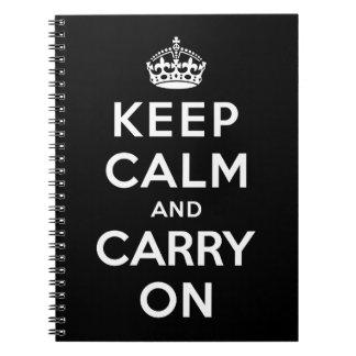 Guarde la calma y continúe cuaderno