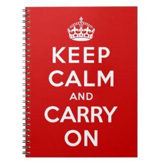 Guarde la calma y continúe libretas espirales